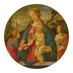 JACOPO DEL SELLAIO | MADONNA AND CHILD WITH AN ADORING ST. JOHN THE BAPTIST, ATTENDED BY A MALE SAINT, BEFORE A LANDSCAPE, A TONDO