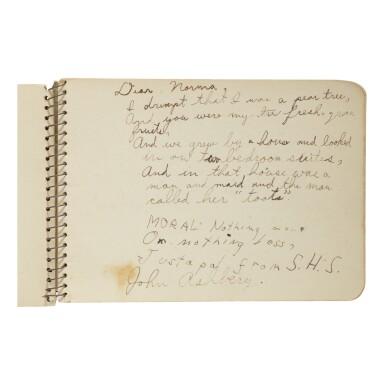 JOHN ASHBERY   MANUSCRIPT JUVENILIA IN AN AUTOGRAPH ALBUM. [SODUS, NEW YORK], 1936–1937