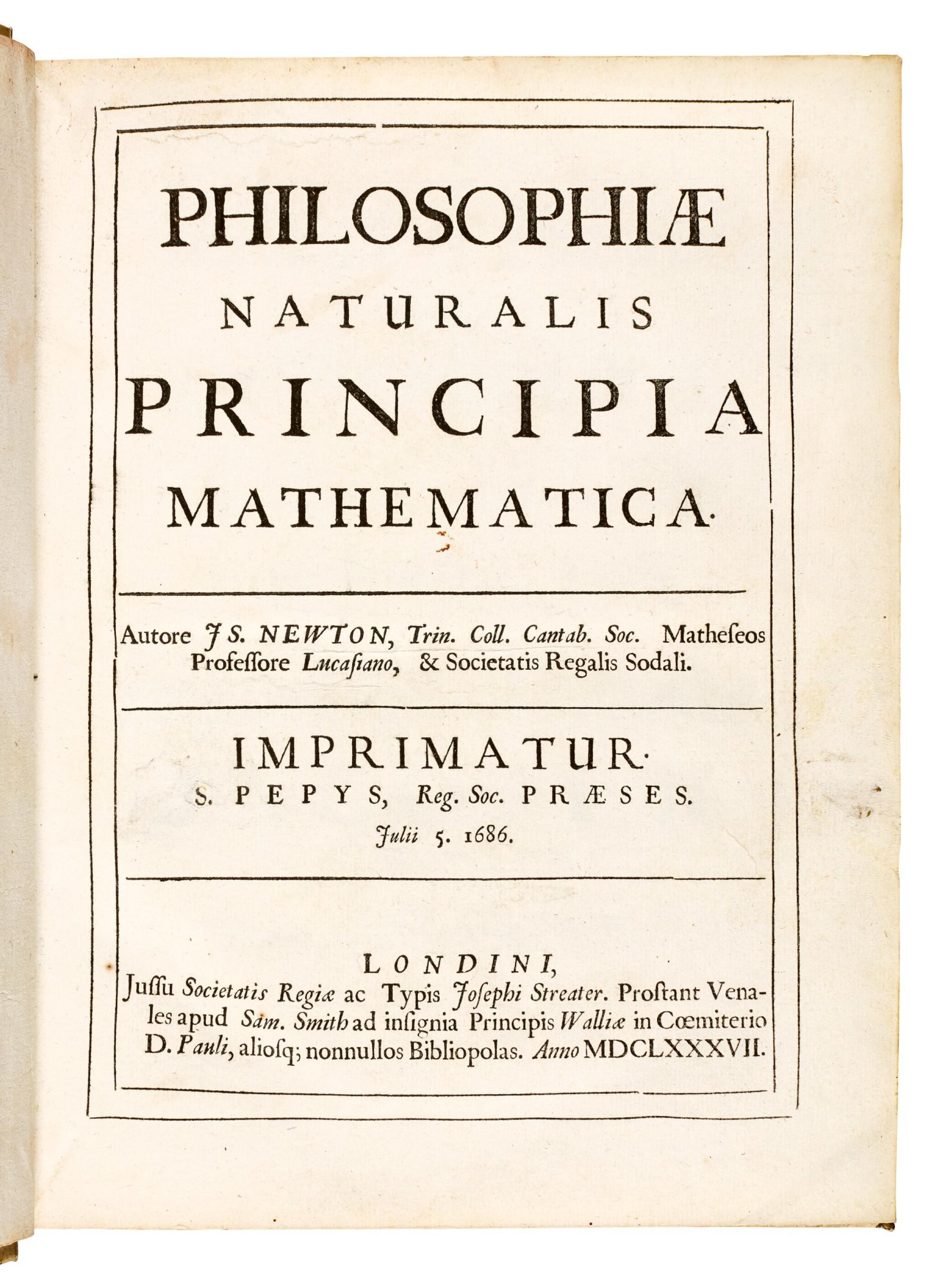 View full screen - View 1 of Lot 74. Newton, Philosophiae naturalis principia mathematica, London, 1687, contemporary vellum.