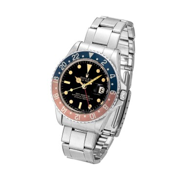 View 2. Thumbnail of Lot 2130. Rolex | GMT-Master, Reference 1675, A stainless steel dual time zone wristwatch with gilt dial, pointed crown guards, date and bracelet, Circa 1965 | 勞力士 | GMT-Master 型號1675    精鋼兩地時間鏈帶腕錶,備漆製錶盤、尖形錶冠護橋及日期顯示,約1965年製.