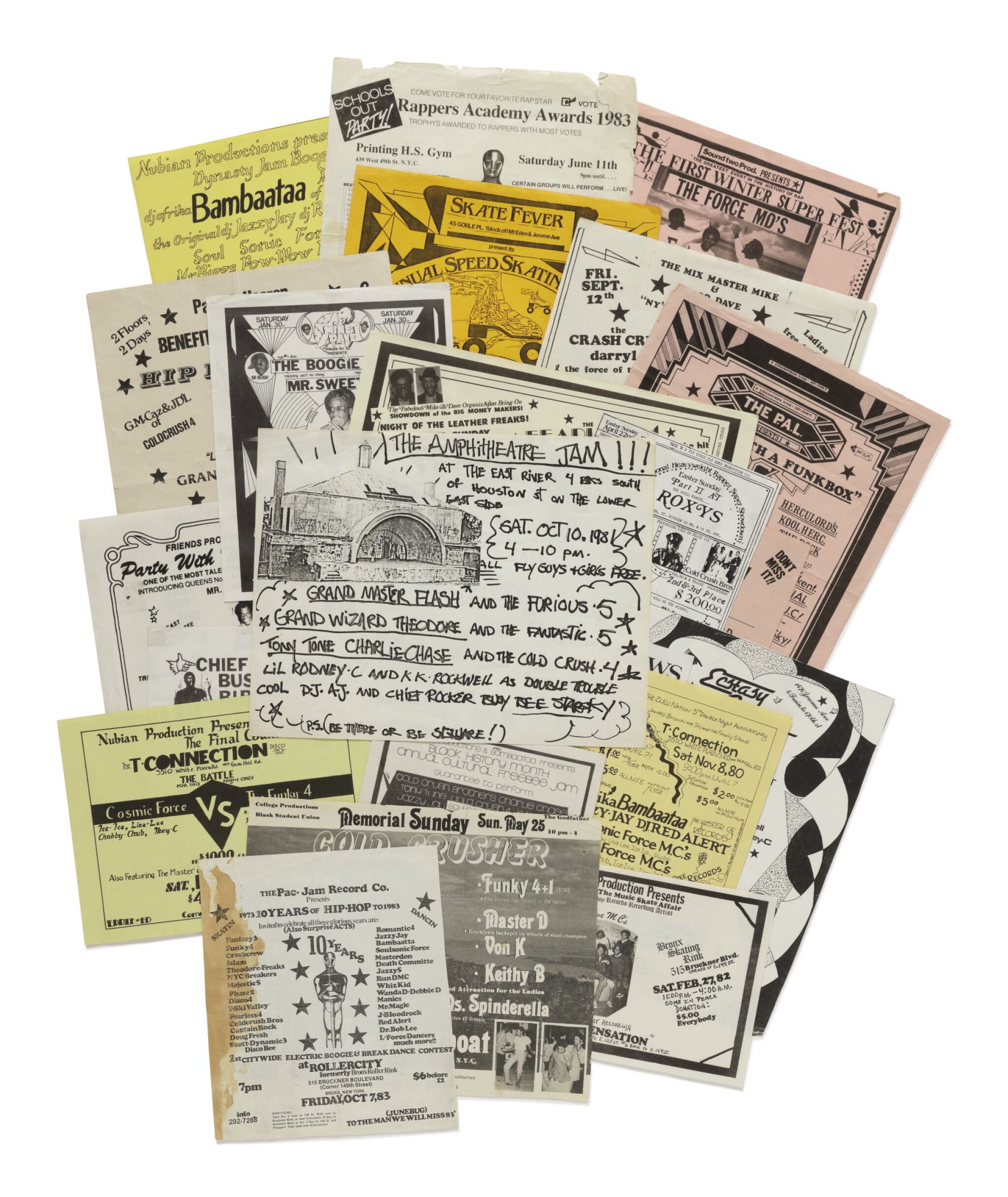 View full screen - View 1 of Lot 17. [FAB 5 FREDDY; BUDDY ESQUIRE; VAN SILK; STRAIGHTMAN; ET AL.]   COLLECTION OF 23 EARLY HIP HOP FLIERS, 1979-1985..