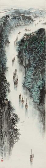 NAVIGUER SUR LA RIVIÈRE SONG WENZHI (1919-1999) | 宋文治 百舸争流圖 | SAILING THROUGH THE STREAM, INK AND COLOUR ON PAPER, HANGING SCROLL, SIGNED WENZHI, AND WITH ONE SEAL OF THE ARTIST