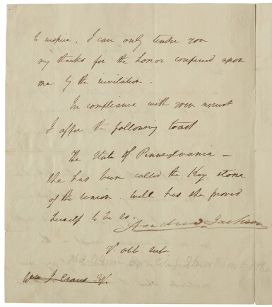Jackson, Andrew. Manuscript letter draft signed, to a Pennsylvania Fourth of July committee, 1 July 1834