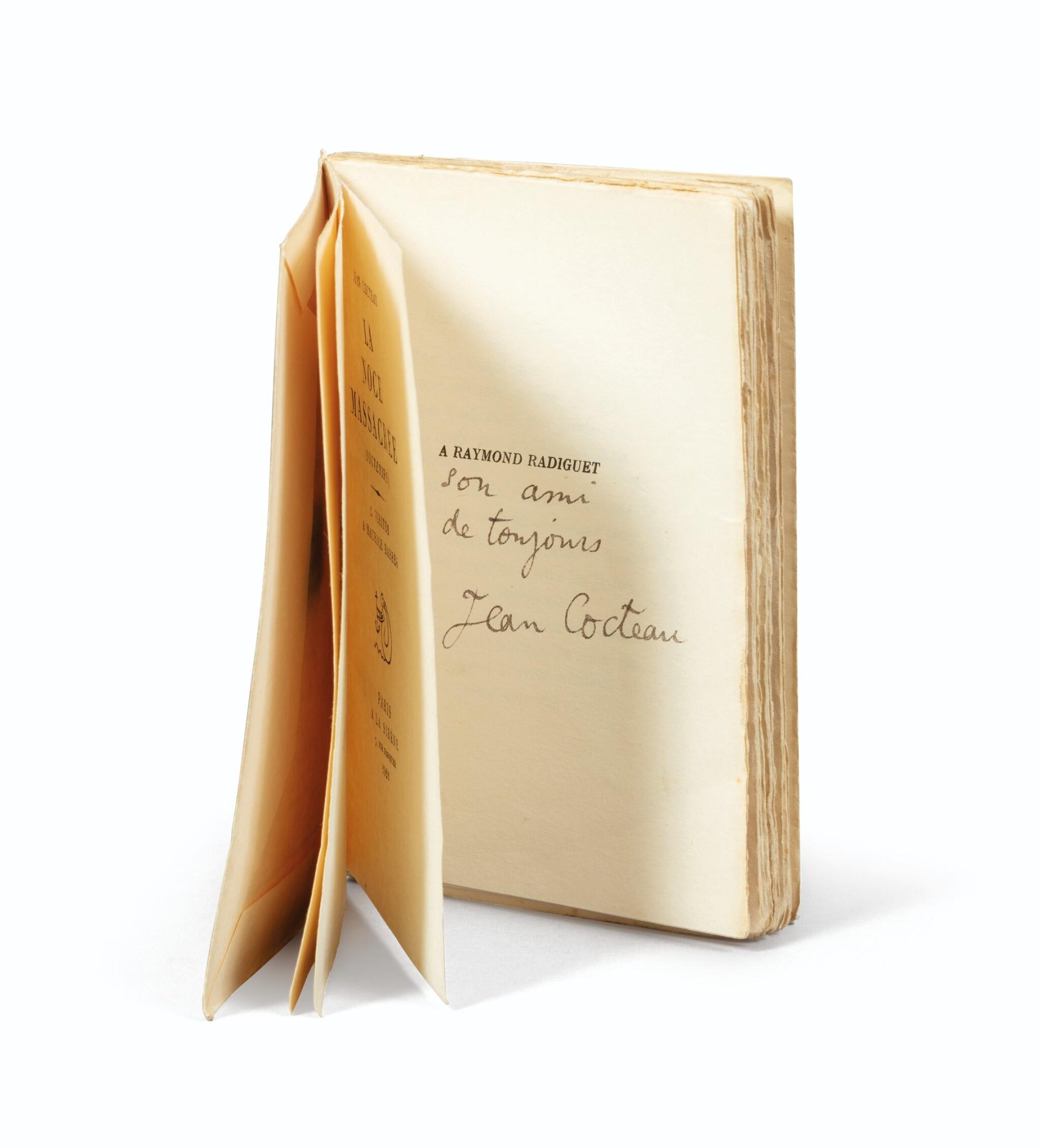 View full screen - View 1 of Lot 242. La Noce massacrée. Paris, 1921. Ex. du dédicataire, Raymond Radiguet, avec envoi. Ex-libris Pierre Bergé.
