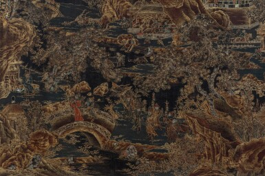 View 3. Thumbnail of Lot 91. Grand écran de lettré en laque polychrome et doré incrusté de nacre Dynastie Qing, époque Kangxi | 清康熙 描金彩繪嵌螺鈿山水樓閣圖雙面插屏 | A large lacquer-gilt and mother-of-pearl inlaid figural screen panel, Qing Dynasty, Kangxi period.