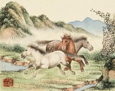 View 7. Thumbnail of Lot 3015. PU JIN; PU ZUO 溥伒、溥佐 | Landscapes and Horses 山水駿馬合璧冊.