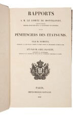 Demetz, Frédéric-Auguste, & Guillaume-Abel Blouet   First edition of a highly important study of American prisons