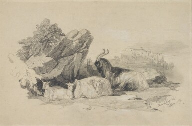 EDWARD LEAR | GOATS IN THE CAMPAGNA, NEAR ROME