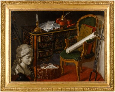View 3. Thumbnail of Lot 55. NICOLAS HENRI JEAURAT DE BERTRY  |  STILL LIFE WITH SHELLS, A NATURALIST MANUAL, A PRESERVED SNAKE, AND MINERALS RESTING ON A TABLE, ABOVE MUSICAL INSTRUMENTS AND A MUSICAL SCORE, WITH FIRE TONGS ALONGSIDE;  AND STILL LIFE WITH AN INLAID WRITING DESK, CHAIR, CLASSICAL FEMALE BUST, PAPERS, INKWELL, MUSICAL MANUSCRIPT AND FIRE TONGS.