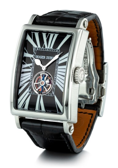 """View 2. Thumbnail of Lot 2019. ROGER DUBUIS     MUCH MORE, REFERENCE M34 09 9 O9:RD.71  A LIMITED EDITION STAINLESS STEEL TOURBILLON WRISTWATCH, CIRCA 2007   羅杰杜彼   """"Much More 型號M34 09 9 O9:RD.71  限量版精鋼陀飛輪腕錶,機芯編號976,錶殼編號12/88,約2007年製""""."""