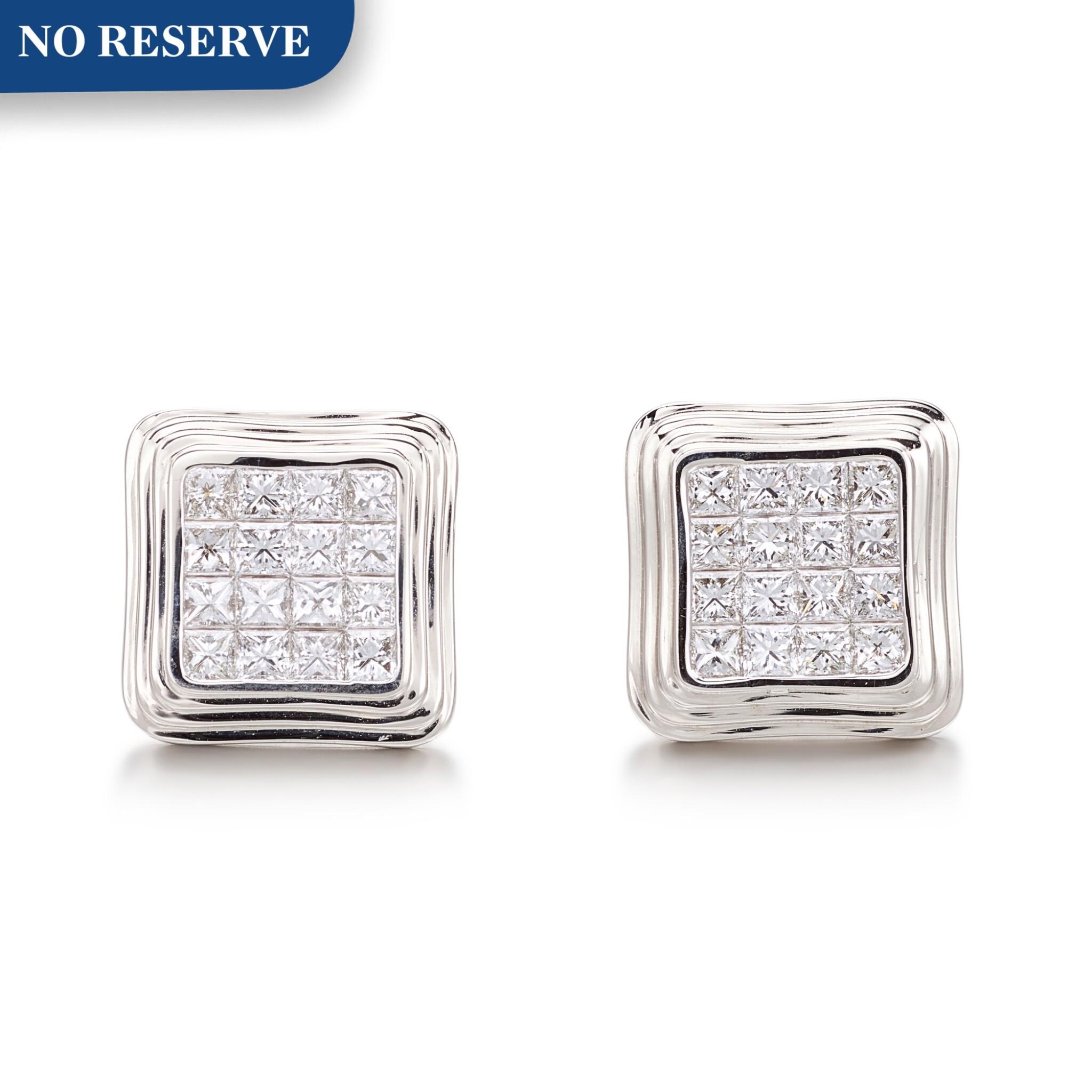 View full screen - View 1 of Lot 1087. Pair of Diamond Cufflinks | 格拉夫| 鑽石袖扣一對 (鑽石共重約3.10克拉).