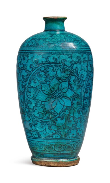 View 2. Thumbnail of Lot 1068. A TURQUOISE-GLAZED 'CIZHOU' 'FLORAL' MEIPING, YUAN / MING DYNASTY.
