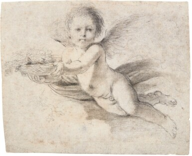 View 1. Thumbnail of Lot 41. GIOVANNI FRANCESCO BARBIERI, CALLED GUERCINO | A FLYING PUTTO HOLDING A BASKET WITH FLOWERS.