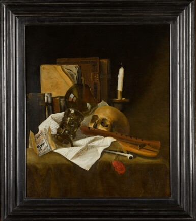 View 2. Thumbnail of Lot 28. ATTRIBUTED TO JACQUES DE CLAEUW | Vanitas still life with a broken glass roemer, recorder, skull, extinguished candle, documents and books.