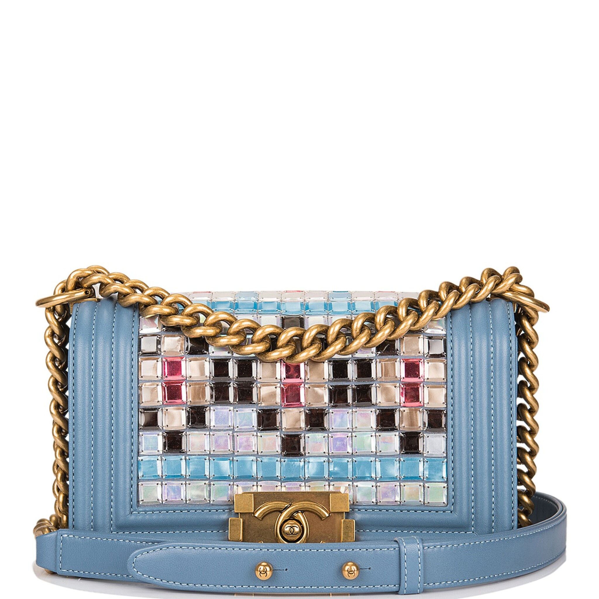 View 1 of Lot 29. Chanel Blue Metiérs d'Art Mosaic Embroidered Small Boy Bag of Lambskin Leather with Antiqued Gold Tone Hardware.