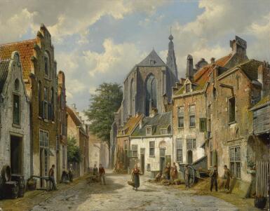 View 1. Thumbnail of Lot 7. WILLEM KOEKKOEK   A Dutch Street in Summer.