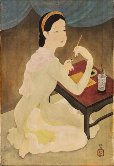 View 1. Thumbnail of Lot 1028. Mai Trung Thu 梅忠恕   Lady Writing a Poem 作詩的仕女.