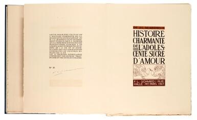 View 2. Thumbnail of Lot 97. Schmied and Mardrus, Histoire charmante de l'adolescente sucre d'amour. 1927. 4to. original wrappers.