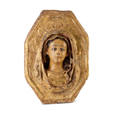 View 1. Thumbnail of Lot 736. AN ITALIAN (?) POLYCHROME RELIEF , PERHAPS OF THE VERONICA VEIL, 17TH CENTURY.