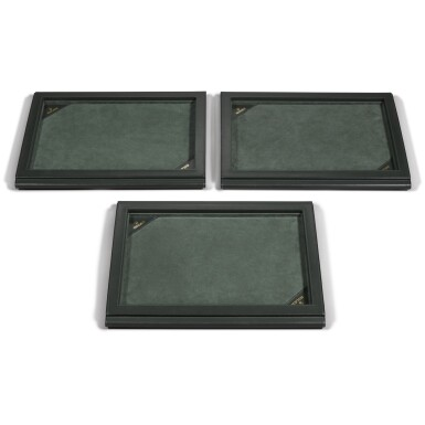 View 2. Thumbnail of Lot 729. THREE GREEN LEATHER PRESENTATION TRAYS.