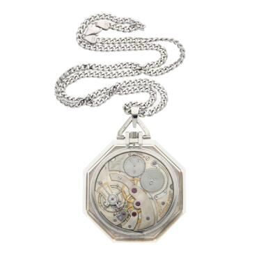 View 3. Thumbnail of Lot 396. A rock crystal, platinum, yellow gold and enamel open faced watch, Circa 1925 .