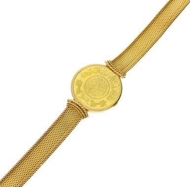 View 8. Thumbnail of Lot 66. A yellow gold coin bracelet watch, Circa 1970.