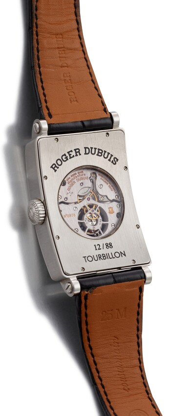 """View 3. Thumbnail of Lot 2019. ROGER DUBUIS     MUCH MORE, REFERENCE M34 09 9 O9:RD.71  A LIMITED EDITION STAINLESS STEEL TOURBILLON WRISTWATCH, CIRCA 2007   羅杰杜彼   """"Much More 型號M34 09 9 O9:RD.71  限量版精鋼陀飛輪腕錶,機芯編號976,錶殼編號12/88,約2007年製""""."""
