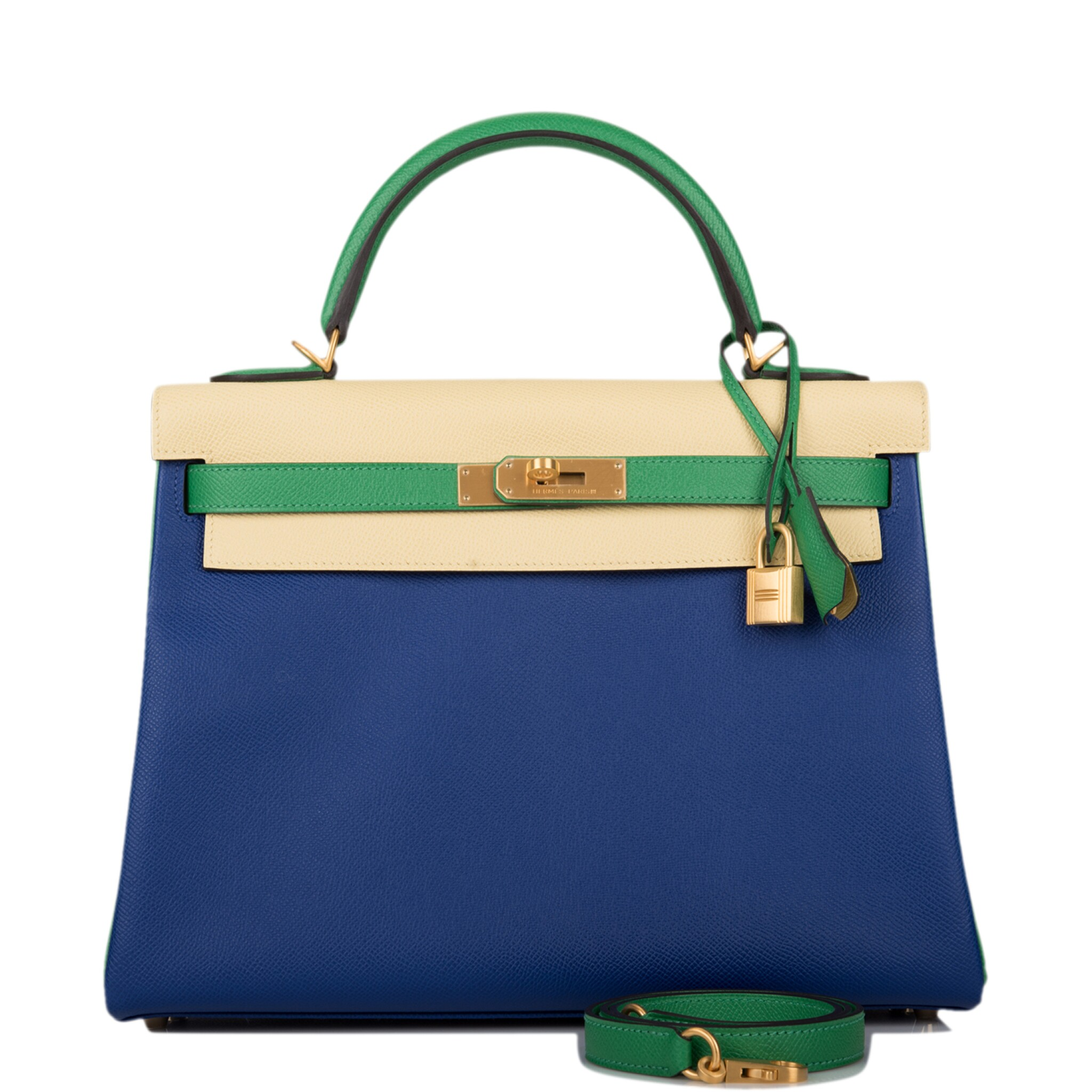 View full screen - View 1 of Lot 13. HERMÈS | HORSESHOE STAMP (HSS) TRI-COLOR BLEU ELECTRIC, BAMBOO AND JAUNE POUSSIN RETOURNE KELLY 32CM OF EPSOM LEATHER WITH BRUSHED GOLD HARDWARE.