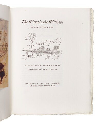 """View 2. Thumbnail of Lot 272. Rackham--Grahame, The Wind in the Willows, 1951, publisher's """"one hundredth edition""""."""