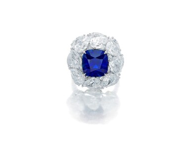 View 1. Thumbnail of Lot 1731. Sapphire and Diamond Ring   9.56克拉 天然「緬甸皇家藍」藍寶石 配 鑽石 戒指(鑽石共重約13.44克拉).