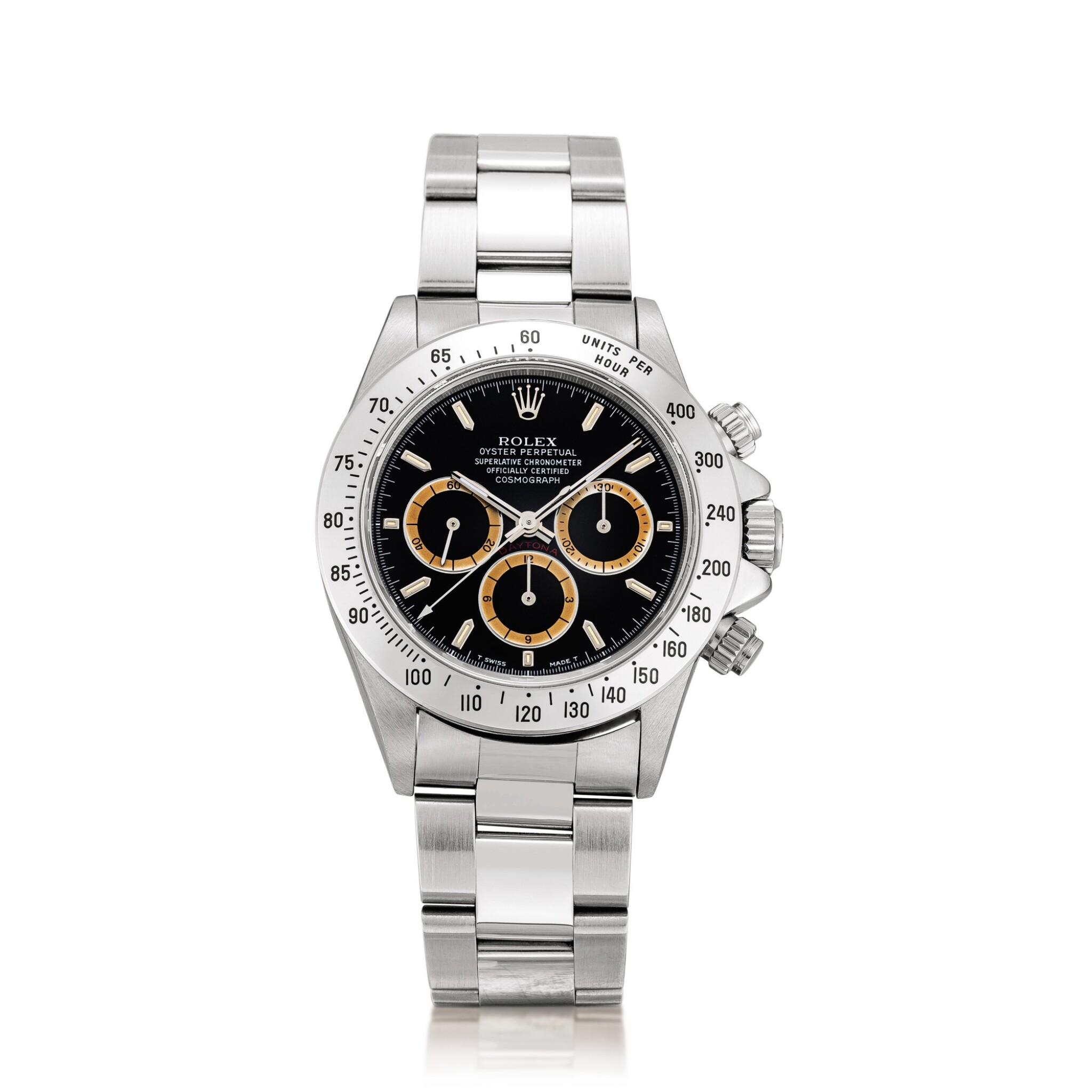 View full screen - View 1 of Lot 2151. Rolex | Cosmograph Daytona, Reference 16520, A stainless steel chronograph wristwatch with tropical registers and bracelet, Circa 1994 | 勞力士 | Cosmograph Daytona 型號16520  精鋼計時鏈帶腕錶,備棕式小錶盤,約1994年製.