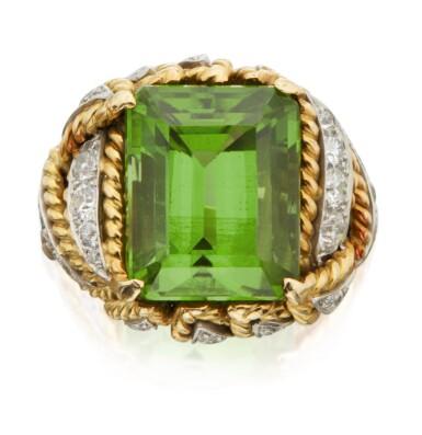 View 1. Thumbnail of Lot 314. PERIDOT AND DIAMOND 'LEAVES' RING, VERDURA .
