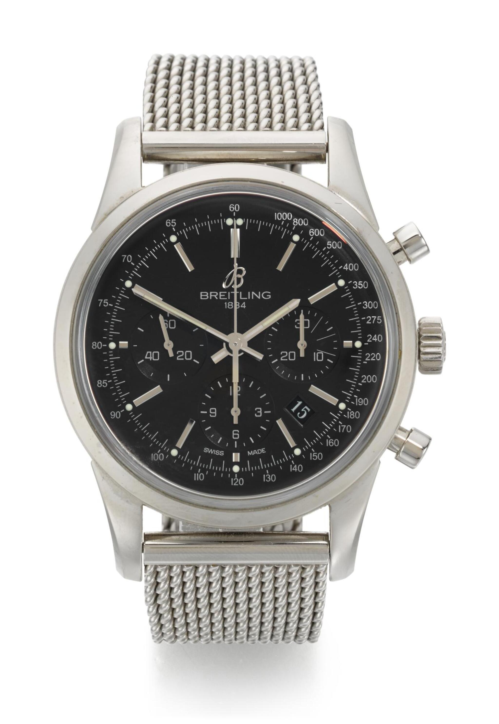 View full screen - View 1 of Lot 30. BREITLING | TRANSOCEAN CHRONOGRAPH, REFERENCE AB015212,  STAINLESS STEEL CHRONOGRAPH WRISTWATCH WITH DATE AND BRACELET, CIRCA 2012.