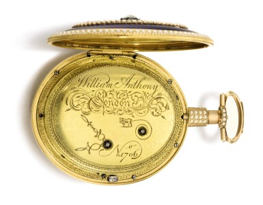 View 4. Thumbnail of Lot 24. WILLIAM ANTHONY, LONDON | A MAGNIFICENT AND EXCEPTIONALLY RARE GOLD, ENAMEL, PEARL AND DIAMOND-SET EIGHT-DAY WATCH WITH EXPANDING HANDS AND FLYING QUARTER SECONDS FOR THE CHINESE MARKET  CIRCA 1800, NO. 1706.