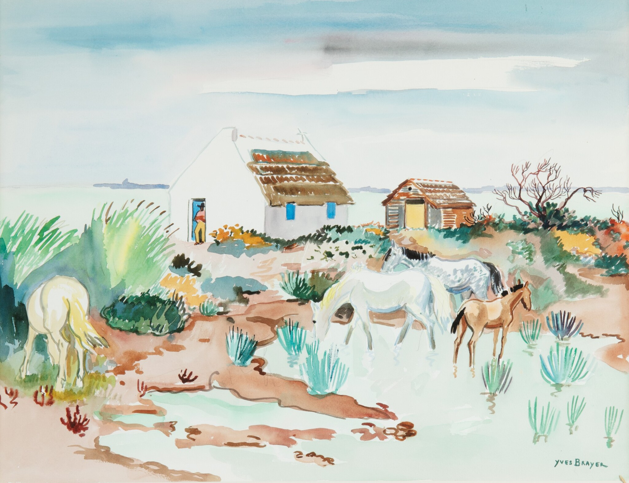 View full screen - View 1 of Lot 31. YVES BRAYER   CHEVAUX ET CABANES EN CAMARGUE         .