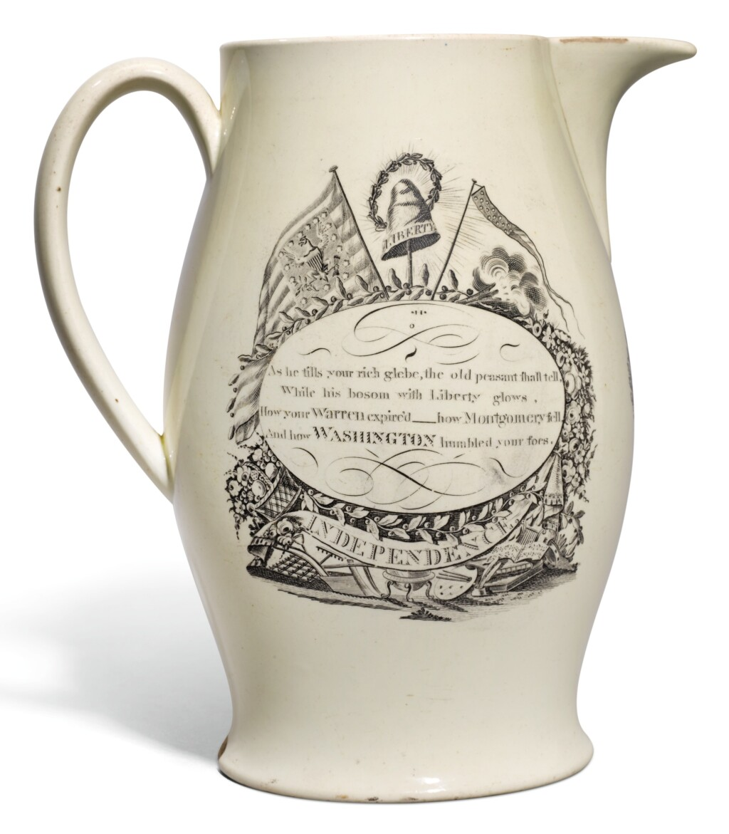 A LIVERPOOL CREAMWARE TRANSFER-PRINTED `SUCCESS TO AMERICA` JUG, CIRCA 1795