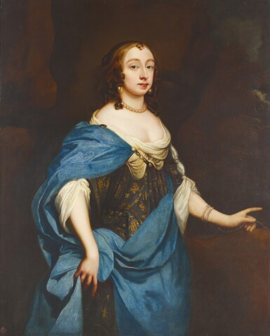 View full screen - View 1 of Lot 185. MANNER OF SIR PETER LELY | Portrait of a lady, three-quarter-length, in an embroidered dress with a blue silk wrap.