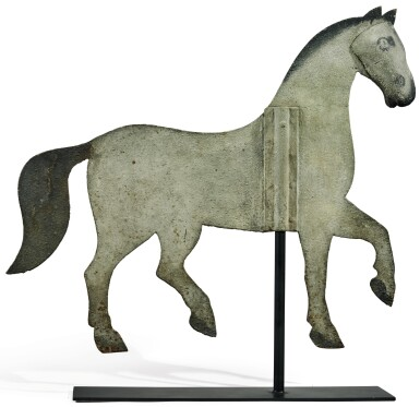 View 1. Thumbnail of Lot 1428. PAINTED SHEET-IRON INDEX-STYLE HORSE WEATHERVANE, POSSIBLY NEW ENGLAND, MID 19TH CENTURY.