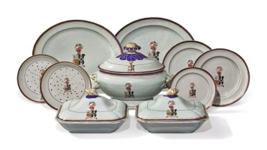 A RARE CHINESE EXPORT ARMORIAL PART DINNER SERVICE, QING DYNASTY, QIANLONG PERIOD, CIRCA 1795