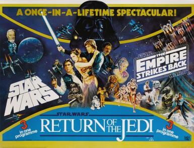 STAR WARS / THE EMPIRE STRIKES BACK / RETURN OF THE JEDI TRIPLE BILL POSTER, BRITISH, TOM WILLIAM CHANTRELL, TOM JUNG AND JOSH KIRBY, 1983