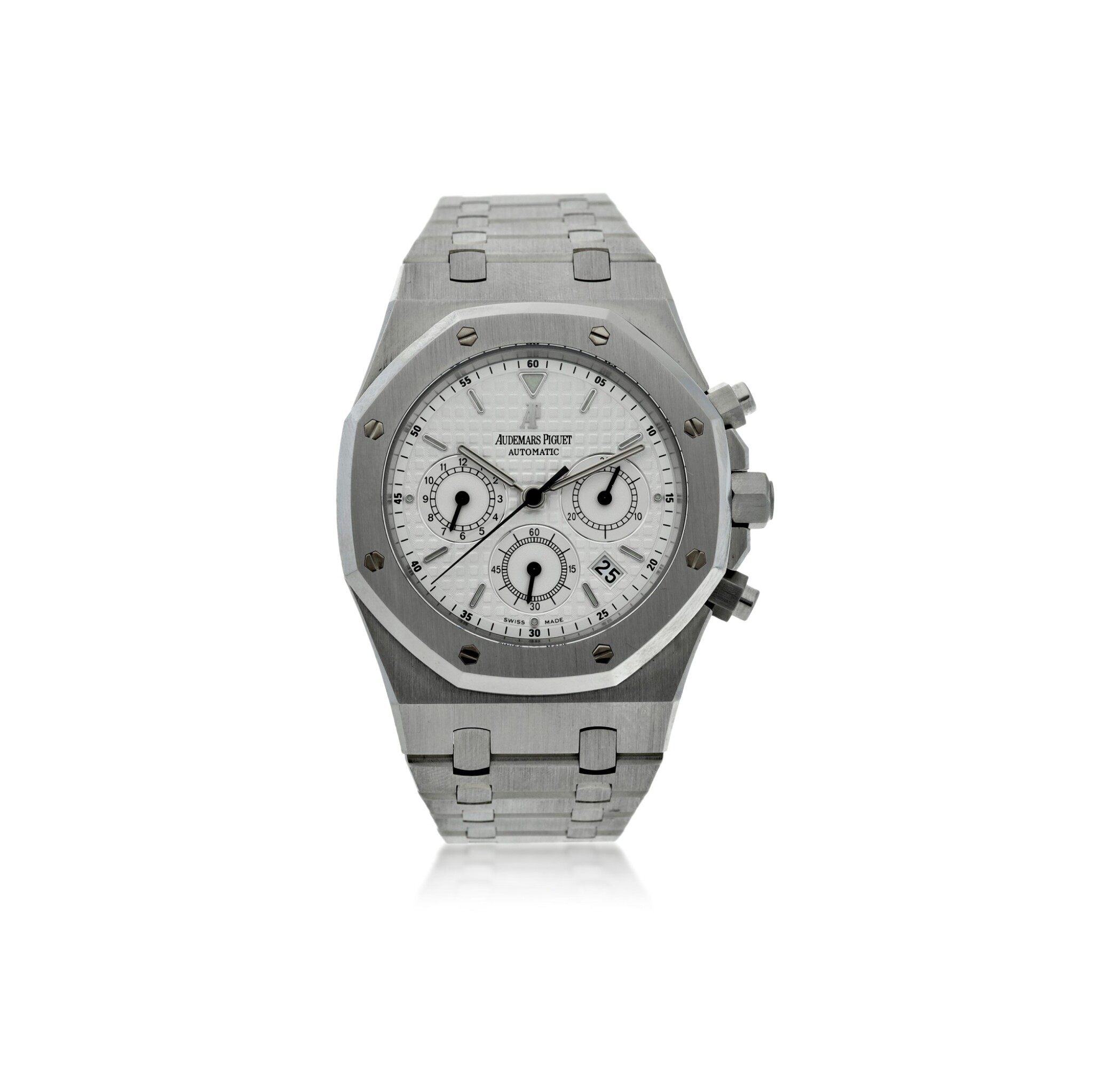 View full screen - View 1 of Lot 12. REFERENCE 25860ST.OO.110ST.05 ROYAL OAK A STAINLESS STEEL AUTOMATIC CHRONOGRAPH BRACELET WRISTWATCH WITH DATE AND BRACELET, DONATED AND SIGNED BY GEORGE H.W. BUSH TO A SAVE THE CHILDREN CHARITY IN 2007.