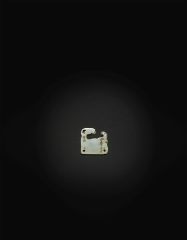 View 2. Thumbnail of Lot 253. AN EXCEPTIONALLY RARE WHITE JADE 'GOAT' PLAQUE,  SONG - YUAN DYNASTY.
