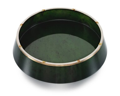 View 2. Thumbnail of Lot 27. A FABERGÉ GOLD AND CHAMPLEVÉ ENAMEL-MOUNTED NEPHRITE BOWL, WORKMASTER MICHAEL PERCHIN, ST PETERSBURG, CIRCA 1890.