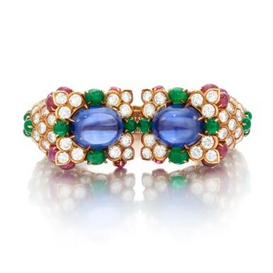 View 2. Thumbnail of Lot 77. Sapphire, emerald, ruby and diamond bracelet (Bracciale con zaffiri, smeraldi, rubini e diamanti).