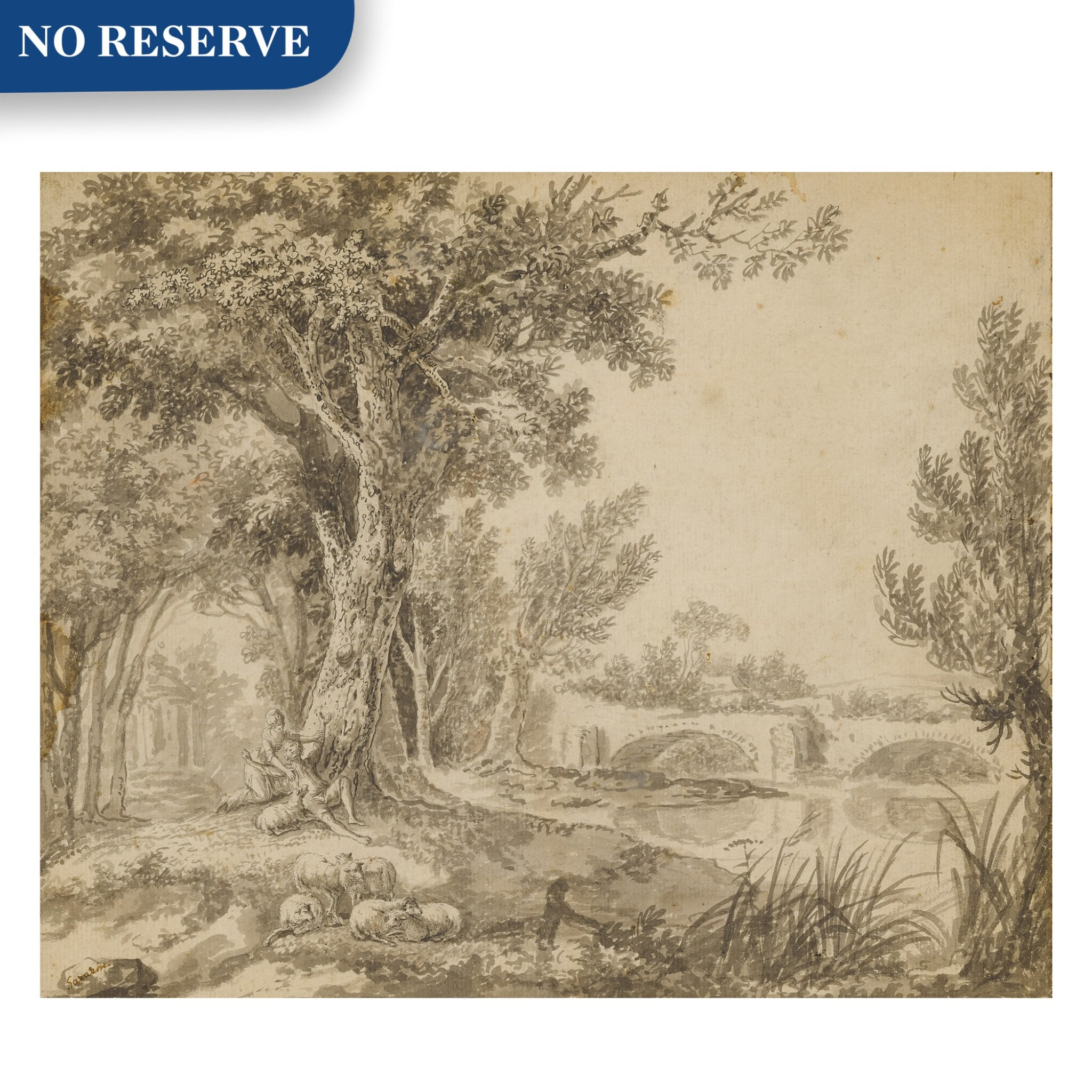 View full screen - View 1 of Lot 150. A couple frolicking in parkland beside a river.
