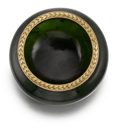 View 3. Thumbnail of Lot 49. A Fabergé two colour gold-mounted nephrite bowl, workmaster Michael Perchin, St Petersburg, 1899-1903.