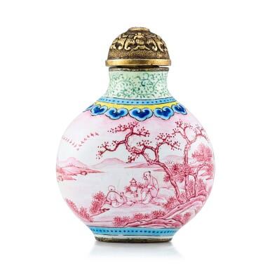 View 1. Thumbnail of Lot 3033. A Beijing Enamel 'Ruby Landscape' Snuff Bottle Mark and Period of Jiaqing | 清嘉慶 銅胎北京畫琺瑯胭脂紅山水人物圖鼻煙壺 《嘉慶年製》款.