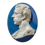 A WEDGWOOD AND BENTLEY BLUE AND WHITE JASPERWARE PORTRAIT PLAQUE OF SIR JOSEPH BANKS CIRCA 1779