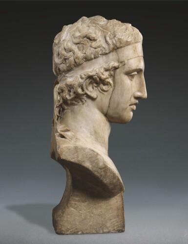 View 2. Thumbnail of Lot 27. A FRAGMENTARY ROMAN MARBLE HEAD OF THE DIADUMENOS, CIRCA 2ND CENTURY A.D., WITH MID 17TH CENTURY OR EARLIER RESTORATIONS.