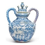 A DUTCH DELFT BLUE AND WHITE VERY LARGE SERPENT-HANDLED TULIPIERE SECTION AND COVER, CIRCA 1690